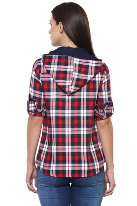 Womens Hooded Neck Checked Shirt
