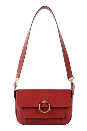 Womens Snap Closure Shoulder Handbag