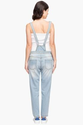 Womens Square Neck Solid Dungarees