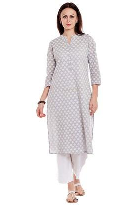 Women Cotton print Straight Kurta