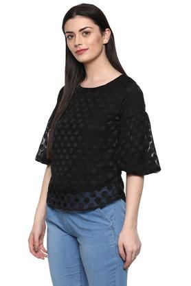 Womens Round Neck Self Printed Top
