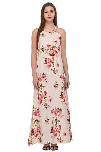 Womens Spaghetti Neck Printed Maxi Dress