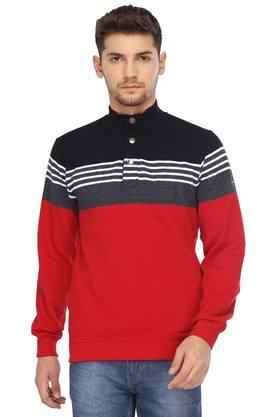 OCTAVE Mens High Neck Colour Block Sweatshirt