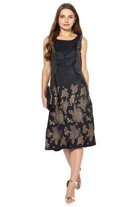 Womens Round Neck Solid Embroidered Midi Dress