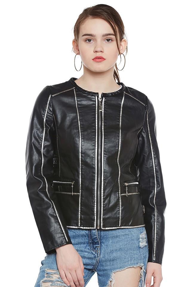 Womens Round Neck Solid Jacket