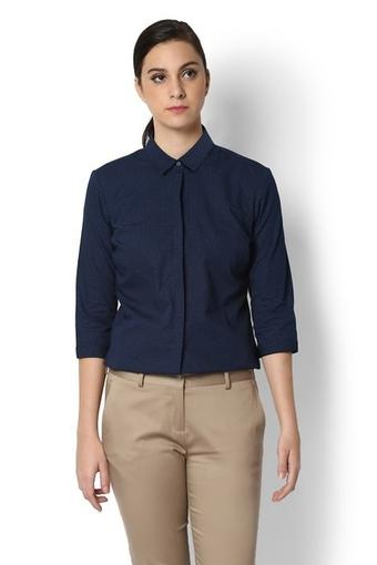 Womens Collared Dot Pattern Shirt