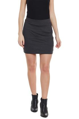 LATIN QUARTERS Womens Slub Above Knee Skirt