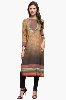 FUSION BEATS Womens Round Neck Printed Kurta - 202987168