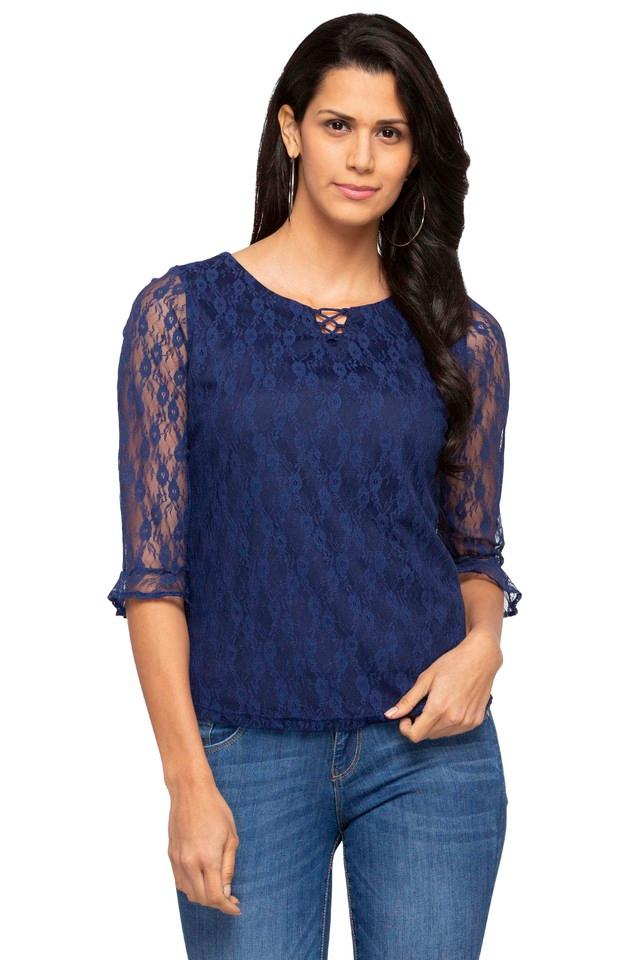Womens Criss Cross Neck Lace Top