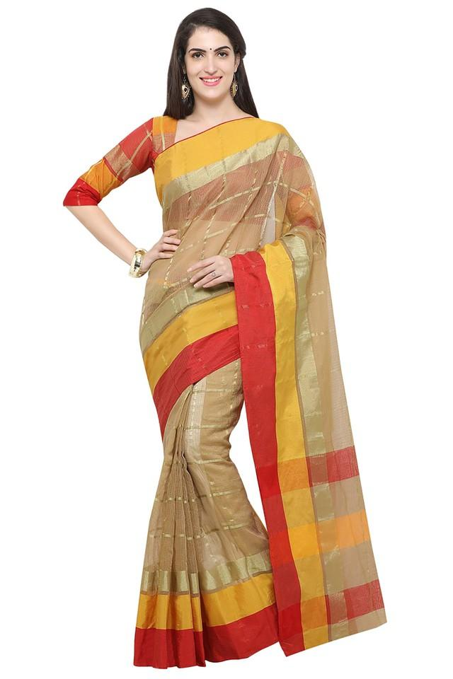 Womens Check Gold Woven Saree with Blouse Piece