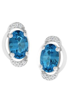 SILVER IMPRESSION Sparkles 18 Kt 0.03 Cts Diamond & 1.1 Cts Aquamarine Earrings - T12501