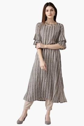 LIBAS Womens Cotton Printed A-Line Kurta With Pockets