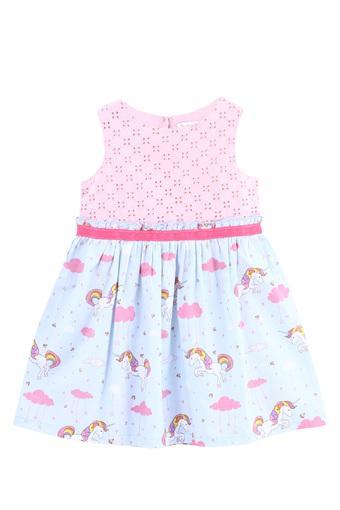 Girls Round Neck Unicorn Print A-Line Dress