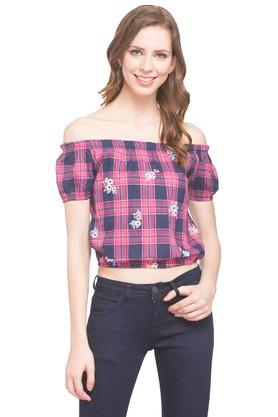 Womens Off Shoulder Check Crop Top