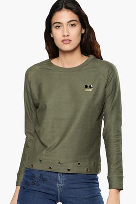 NUSHWomens Round Neck Textured Sweatshirt
