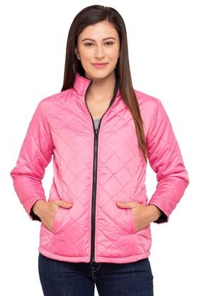 LIFEWomens Zip Through Neck Solid Quilted Jacket - 204859916_9557