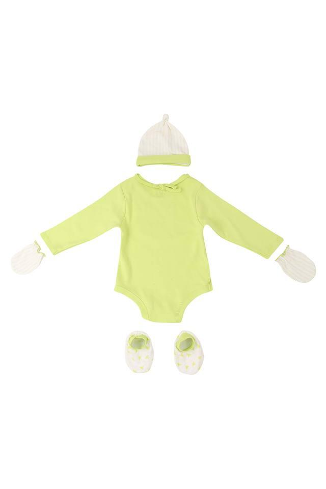 Girls Round Neck Solid Babysuit with Mittens Booties Cap and Bib