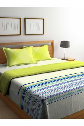 PORTICOStripe Double Duvet Cover With Bed Sheet And Pillow Cover Combo