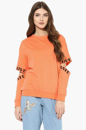LOVE GENRATION Womens Round Neck Solid Elbow Cut Out Sweatshirt
