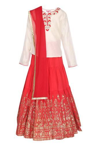 Girls Embroidered Ghaghra Choli Dupatta Set