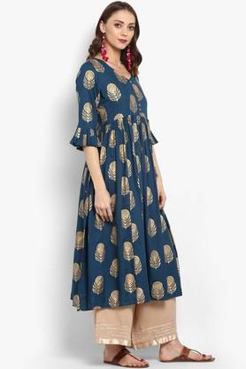 Womens V Neck Printed Kurta and Palazzo Set
