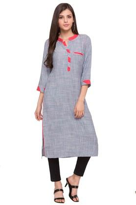 Womens Mandarin Collar Textured Kurta