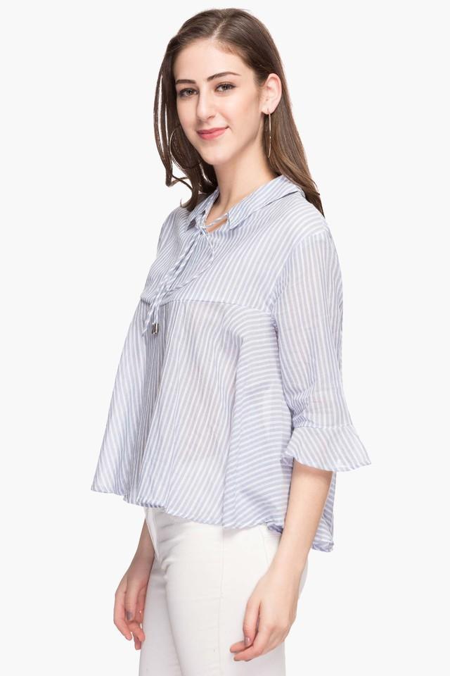 Womens Collared Stripe Arlene Boho Top