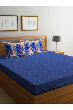 PORTICOPrinted Double Fitted Bed Sheet With Pillow Cover