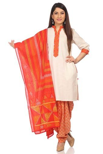 Womens Mandarin Neck Slub Patiala Suit