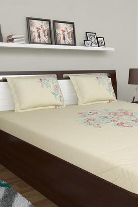 SPACES Floral Printed Double Bed Sheet With Pillow Cover And Cushion Cover - 204023207_9900