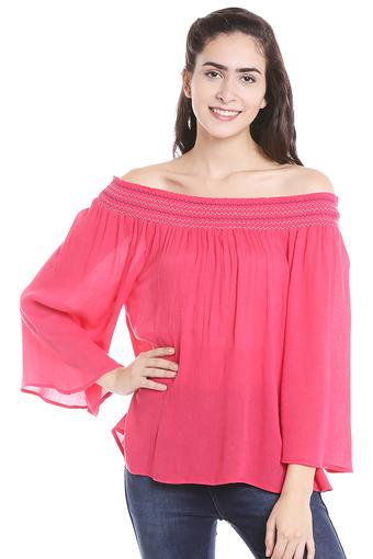 Womens Off Shoulder Solid Top