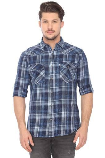 Mens Regular Fit Checked Casual Shirt