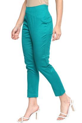 Womens Slim Fit Slub Pants