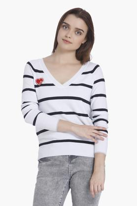 VERO MODA Womens V-Neck Striped Sweater