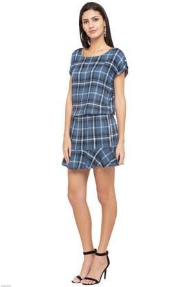 Womens Round Neck Checked Blouson Dress