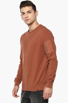 Mens Round Neck Solid Sweatshirt