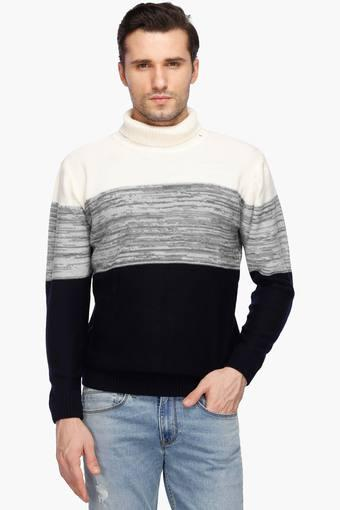 Mens Turtle Neck Colour Block Sweater