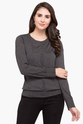U.S. POLO ASSN.Womens Round Neck Slub Sweater - 203391362