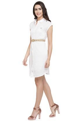 Womens Solid Shirt Dress