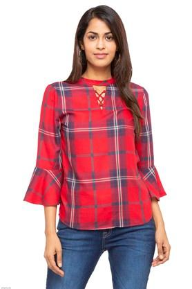 Womens Band Collar Check Top