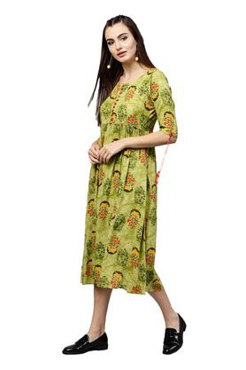 Womens Round Neck Printed Flared Dress
