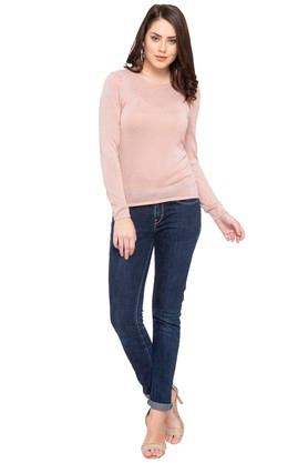 Womens Round Neck Solid Pullover