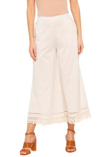 Womens Solid Lace Trimming Palazzo Pants