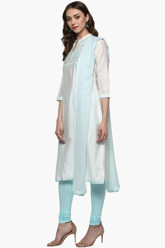 Womens Mandarin Neck Solid Churidar Suit