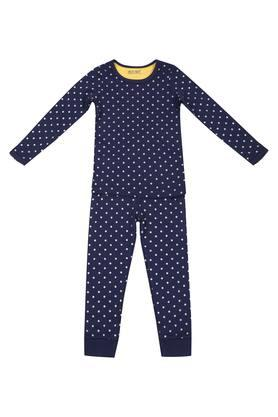Girls Round Neck Dot Pattern Pants and top