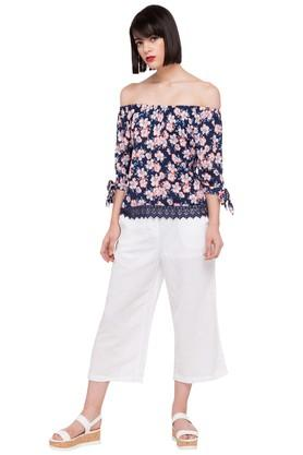 Womens Off Shoulder Neck Floral Print Top