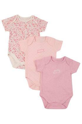 Girls Envelope Neck Floral Print Slub and Dot Pattern Babysuit - Pack Of 3