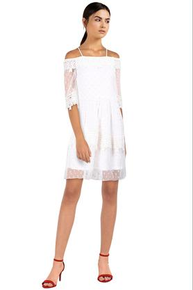 Womens Off Shoulder Lace Flared Dress