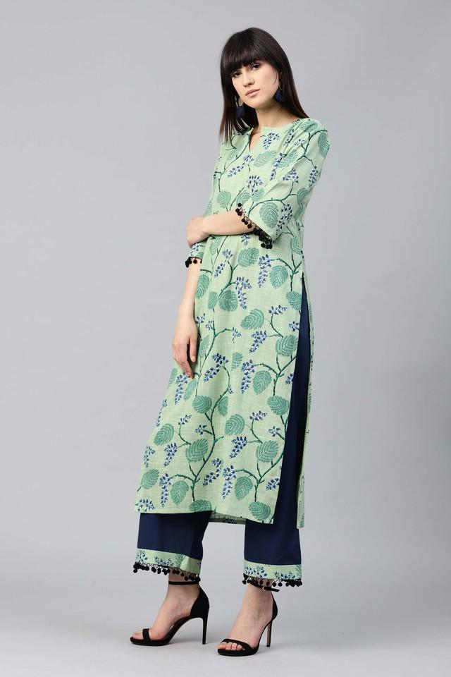 Women Cotton Printed Straight Kurta With Cotton Solid Palazzo