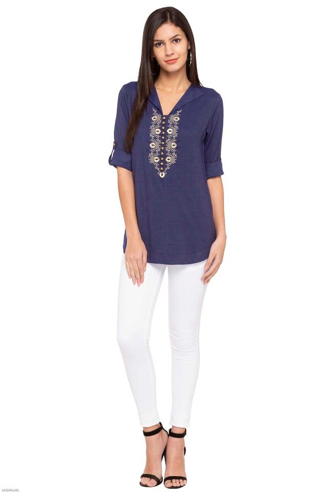 Womens V-Neck Embroidered Tunic